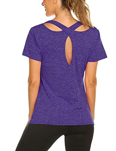 Camiseta de Tirantes y Top de Deporte para Mujer sin Mangas para Yoga o Gimnasio T Shirt Pourpre M