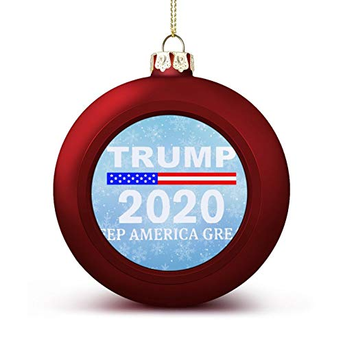 Enylvjoy Trump 2020 - Pro Trump Keep America Great Custom Christmas Ball Ornaments with Lanyard Beautifully Decorated Christmas Ball Gadgets for Holiday Party Decoration Xmas Tree Hanging Decorated