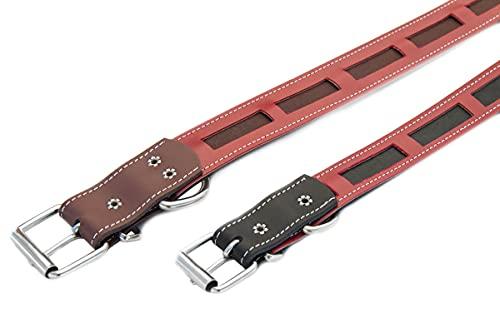 Collar para Mascota, PaseaTumascota Modelo protec Fabricado con Piel Muy Resistente y cómodo para su Mascota antiparasitos (Rojo, 55)