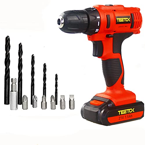 Electric Drill, 21V Cordless Combi Drill New Driver Set 2 Speed with Twist Drills