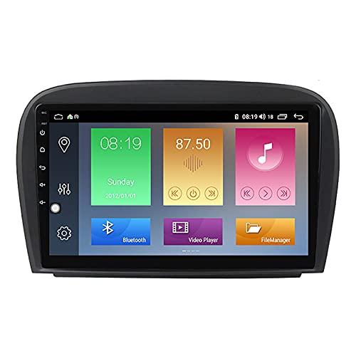 Android Coche Estéreo GPS Navegación Estéreo de 9 Pulgadas Pantalla táctil, Radio Video Receptor Apple Carplay para Mercedes Benz R230 SL SL500 2001-2007,M500
