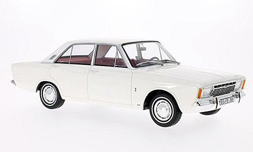 Ford Taunus 17M (P7a), weiss, 1967, Modellauto, Fertigmodell, BoS-Models 1:18