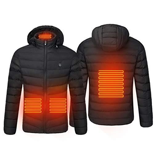 AmyGline Beheizbare Jacke Herren Intelligent USB Elektrisch Beheizte Jacke Zurück Bauch Heizung Winter Jacke Warm Daunenjacke Mit Kapuze Steppjacke Winterjacke Wintermantel