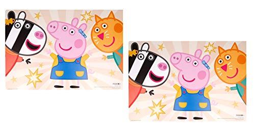 Theonoi - Juego de 2 salvamanteles para niños, de plástico, lavables (2 x Peppa Pig)