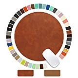 Round Mouse Pad PU Leather Mouse Pad with Stitched Edge Micro-Fiber Base with Non-Slip Waterproof, Mouse Pad for Computers, Laptop, Office & Home,1 Pack, 9inch9inch (Brown 2.0)