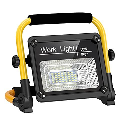 Linkax Luz de Trabajo LED Recargable, Foco Led Recargable 50W Portátil Recargable USB Plegable, Lámpara LED Recargable Impermeable de Para Taller, Garaje, Patio, Jardín