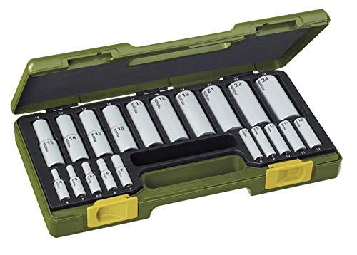 PROXXON Steckschlüsselsatz, Spezialsatz mit Tiefbetteinsätzen, 20-teiliges Werkzeug-Set mit Kunststoffkoffer, 23292