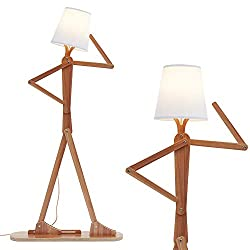 Hroome Modern Decorative Cool Floor Lamp Wood Tall Creative Swing Arm Unique Design Reading Standing Corner Light For Kids Boys Girls Living Room Bedroom Office Farmhouse With Led Bulb Ash