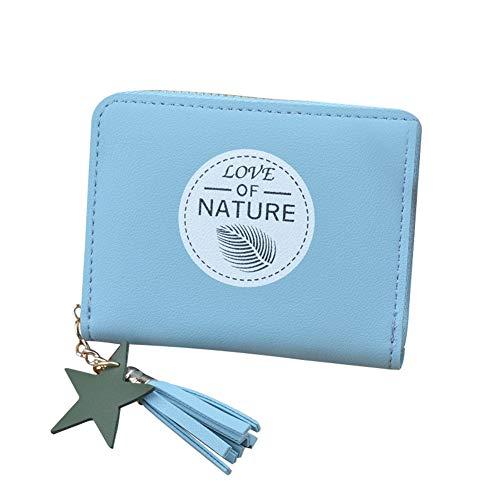 SKYXIU Cartera con cremallera corto monedero de moda monedero monedero embrague bolsas lindo cartera de cuero PU cartera tarjeta impermeable, Blue, 1,