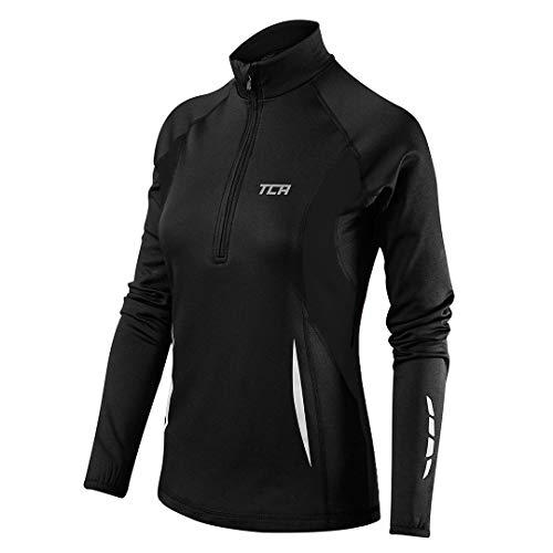 TCA Winter Run Damen Thermo-Laufshirt mit kurzem Reißverschluss - Langarm - Schwarz, M