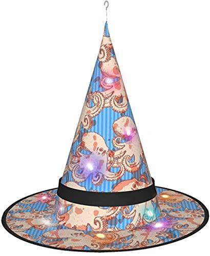 KINGAM Bonito sombrero de bruja de pulpo marino con luz, para disfraz de Halloween, fiesta de disfraces, cosplay y uso diario