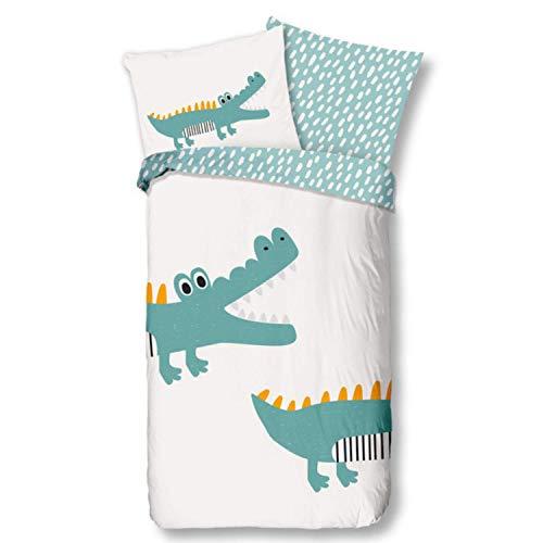 Aminata Kids Bettwäsche 135x200 Kinder Tiere Tier-Zoo-Motiv Baumwolle Krokodil mit Reißverschluss Dschungel-Safari-Motiv Dino freundliche freundliche Kinder-Bettwäsche-Set beige, grün