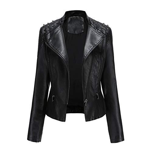 Giubbotto Pelle Donne Giacca Pelle Giacca Moto Vestito Blazer Giacca da Donna in Pelle Sottile Punk Bavero Bavero Cerniera Tuta da Moto Cucitura (XL,Nero)