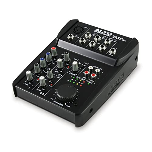 Alto Professional ZMX52 - Mesa de mezclas compacta de 5 canales con calidad de estudio, entrada de micrófono XLR, dos entradas estéreo y una salida Aux