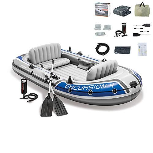 Excursión Kayak Inflable Barca Hinchable Lancha Bote Inflable Ocio con Aluminio Remos Y Bomba Adecuado para Pesca, Deportes Acuáticos, Vacaciones Y De Ocio 4 Persona
