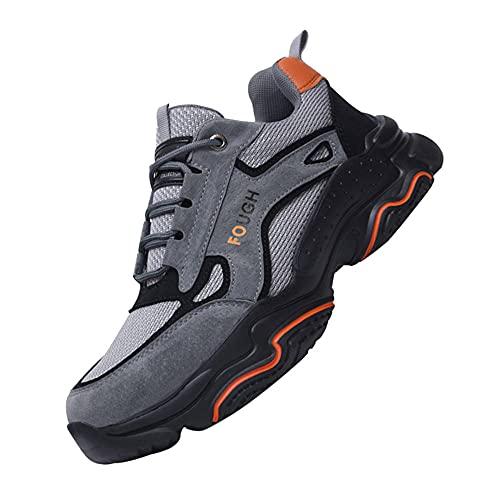 Zapatos de Trabajo Anti-presión,Zapatillas de Seguridad Zapatos de Trabajo Calzado de Trabajo Ligeros,Grey▁45