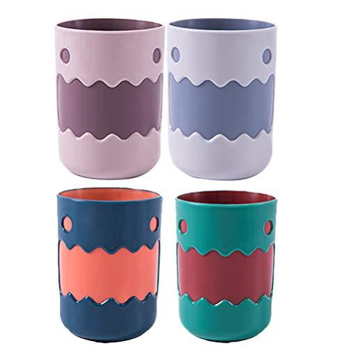 Cabilock Delicate 4Pcs Funny Tooth Mug - Portaspazzolino a due colori (rosa e viola, rosso e verde, blu e arancione, bianco e grigio)