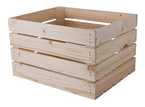 Natur Apfelkiste 50cm x 40cm x 30cm Weinkiste Obstkiste unbehandelt Schuhregal Ablagekiste Holzboxen Couchtisch DIY Holz mittelgroß Aufbewahrungskiste