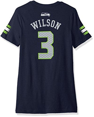Las niñas 7-16Russell Wilson Seattle Seahawks NFL principal reproductor de rayas cuello de pico manga corta de nombre y número, grande/(14), color azul marino oscuro