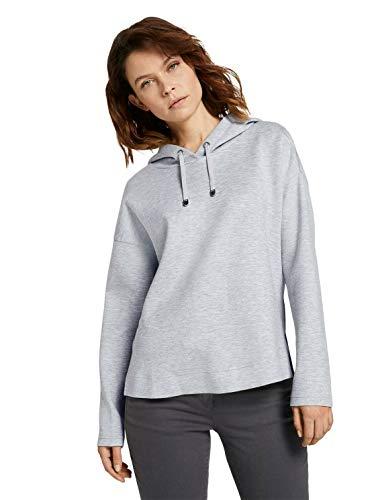 TOM TAILOR Damen Strick & Sweatshirts Hoodie mit Seitenschlitzen Comfort Grey Melange,XXXL,25831,2500