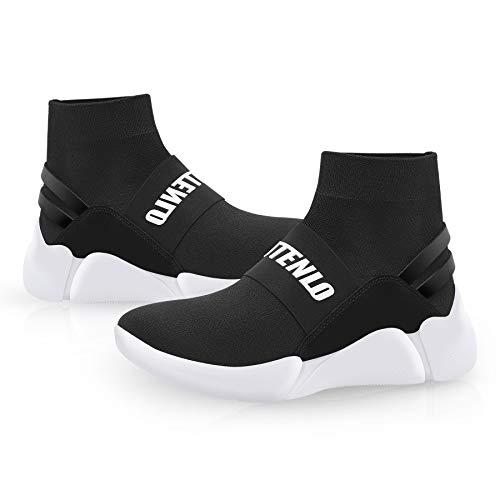 BABUTENLO Chaussures de course légères unisexes en tricot bio-graphène, respirantes, décontractées avec semelle orthopédique, antidérapantes, respirantes - Noir - Noir , 42 2/3 EU
