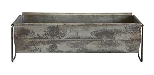 Creative CoOp DA7753 Metal Trough Container with Distressed Zinc Finish