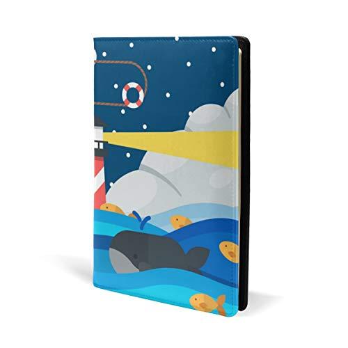 Bucheinband aus Leder, Motiv: Segelboot, für Schule, Büro, Lehrbücher, Taschenbuch, Hardcove, A5, 14,8 x 22,9 cm, für Mädchen und Jungen