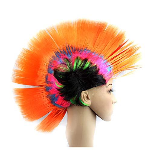 Xiton pelucas 1 pieza divertido disfrazarse peluca vestidos tocado Mohawk Cresta de gallo peluca de pelo punk de la calle de la pelucas del Mohawk de Carnival Party Festival,Rainbow Naranja