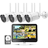 [8CH Expandable] Kittyhok All in One 2K Wireless Security Camera System with 12' HD Monitor, 4Pcs 3MP IP Surveillance Camera with 2 Way Audio, Remote View, 24/7 Recording, 1TB HDD