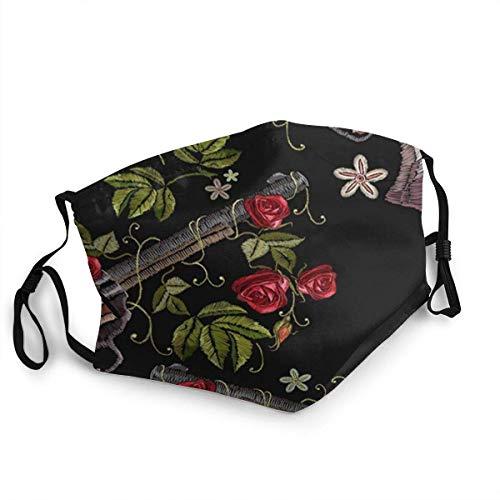 AYGoUP Gesichtsschutz Mundschutz Waffen Blumen Rosen Western Wiederverwendbarer Nasenschutz Waschbar staubdicht gegen Verschmutzung