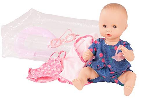 Götz 2053141 Sleepy Aquini Mädchen Cherry Kiss - 33 cm große Badepuppe mit braunen Schlafaugen, ohne Haare in 9-teiligem Set - Babypuppe ab 3 Jahren