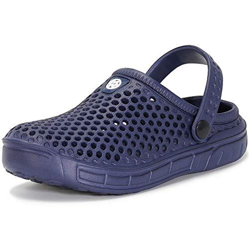 Zuecos y Mules Jardín para Niños Zapatillas de Verano Niñas Piscina Sandalias de Playa Antideslizante Pantuflas Zapatos Azul oscuro 34
