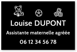 Personaliseerbaar bord voor de kleuterschool, personaliseerbaar, 30 x 20 cm, zwarte witte letters, 3M-plakband