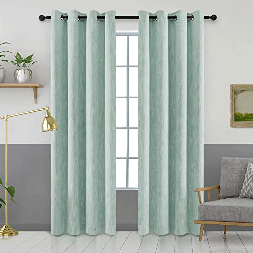 Melodieux Elegant Cotton Window Blackout Curtains Thermal Insulated Grommet Top (1 Panel, 52 by 84 Inch, Blue)