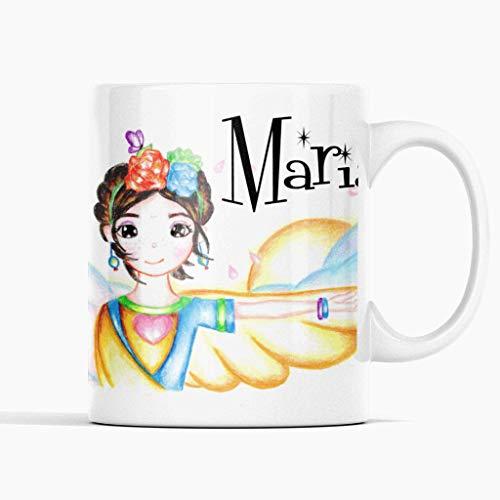 A'nian Taza regalo infantil Frida Kahlo - Taza personalizada con tu nombre - Regalo de navidades - Regalo de reyes - Taza de cerámica 350ml.