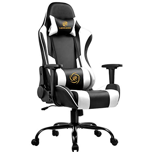 LUCKRACER Gaming Stuhl Bürostuhl Gamer Ergonomischer Stuhl Einstellbare Armlehne Einteiliger Stahlrahmen Weiß