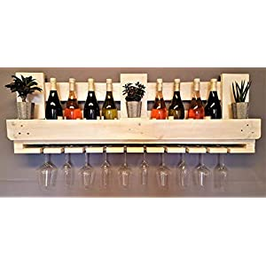 Weinregal aus Palette vintage weiß Flaschenregal Weinflaschenregal Wandregal Regal Hängeregal Palettenregal…