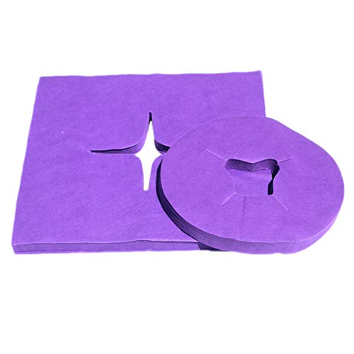 SDENSHI 200x Salon Einwegmassagetisch Face Cradle Kissenbezug Kopfstützenblatt - Lila, wie beschrieben