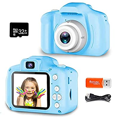 Kids Camera Digital Dual Lens Video Cameras for Children Toys Camcorder with 2 Inch Screen 1080P HD Toddler Cameras Best Birthday Gifts for Kids 3 - 10 Year Old Boys Girls with 32GB Memory Card by ZOULME
