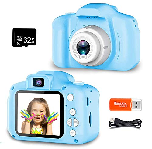 ZOULME Digital Camera for Kids, Best Birthday Gifts for Boys Age 3-9, HD Digital Video Cameras for Toddler,Portable Toy for 3 4 5 6 7 8 Year Old Boy with 32GB SD Card-Blue