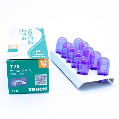 XENCN LEDPremium 10X Bombillas HALOGENAS T20 W21/5W Super Brillantes Blanco 4200K Efecto Xenon Luces DE POSICION DIURNAS 7443