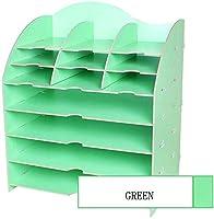CaiCai ファイル収納ラック, ファイルホルダー木製多機能ラックZhaoshunli製品出荷サイクル多彩な収納ボックスクリエイティブマルチレイヤ(色:ブルー) (Color : Green)