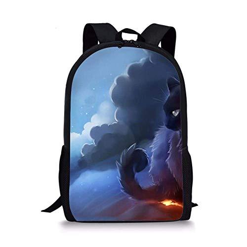 TTmom Unisex College Backpacks Bookbag, School Backpack Warrior Cat Fashion Lightweight Travel Laptop Bag for Macbook/Notebook, 17 inch Warrior Cat Fashion