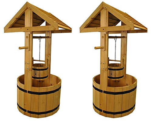 Selections Large Wooden Wishing Well Garden Planters (Set of 2)