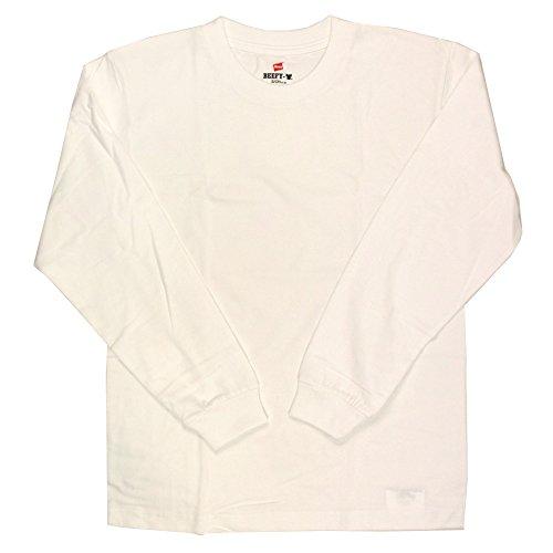 [ヘインズ] ビーフィー ロングスリーブ Tシャツ 長袖 BEEFY-T 綿100% 肉厚生地 無地 H5186 メンズ ホワイト L
