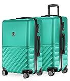 HAUPTSTADTKOFFER - Boxi - 2er Kofferset Trolley-Set Rollkoffer Reisekoffer mittelgroßer Koffer (65 cm), ABS-Hartschale TSA, 4 Spinner-Doppelrollen, Türkis