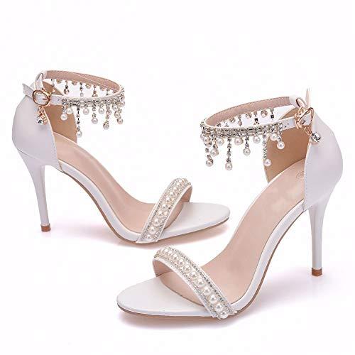 AORISSE Zapatos De Novia para Mujer, Borla Blanca De 9 Cm con...