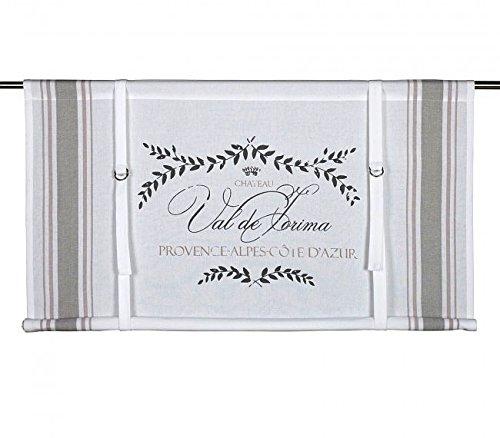 Scheibengardine Raff Gardine Raffrollo Vorhang 'PROVENCE' 100 x 90 cm (BxH) weiß beige rosa mit Aufdruck Baumwolle Landhaus Shabby French Vintage Retro Antik Nostalgie