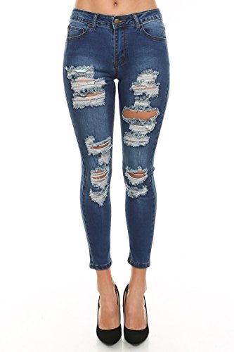 Vialumi Women's Destroyed Mid Rise Cropped Skinny Jeans Dark Blue 9