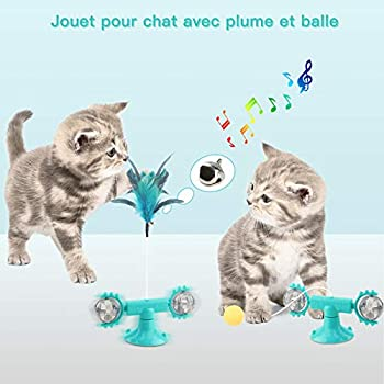 Ossky Jouet pour Chat Moulin à Vent, Jouets interactifs pour Chats 4 en 1 pour Chats d'intérieur avec Plumes et Cloches, Boule de Chat drôle, Jouets d'herbe à Chat rotatifs avec Ventouse